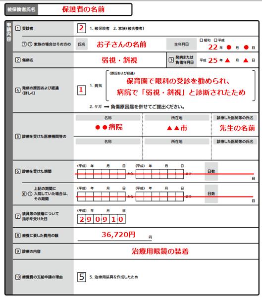 治療用メガネの申請書